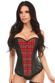 Lavish Red Plaid & Wet Look Overbust Corset - IN STOCK