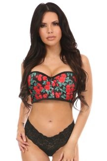 Lavish Red Roses Underwire Short Bustier