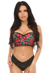 Lavish Red Roses Underwire Short Bustier - IN STOCK