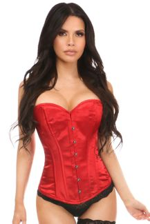 Lavish Red Satin Overbust Corset w/Busk Closure - IN STOCK