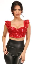 Lavish Red Sequin Underwire Bustier Top w/Removable Ruffle Sleeves