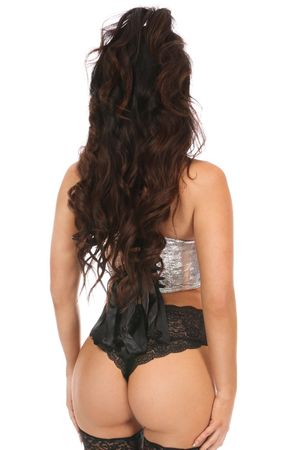 Lavish Silver Crackle Lace-Up Short Bustier Top - IN STOCK