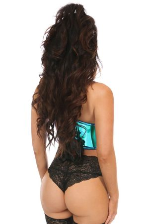 Lavish Teal/Blue Holo Lace-Up Short Bustier Top - IN STOCK