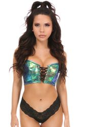 Lavish Teal Crackle Lace-Up Short Bustier Top - IN STOCK