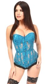 Lavish Teal Sheer Lace Underwire Corset