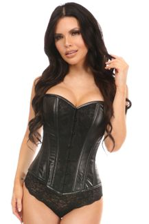 Lavish Wet Look Overbust Corset Black w/Lace Overlay - IN STOCK