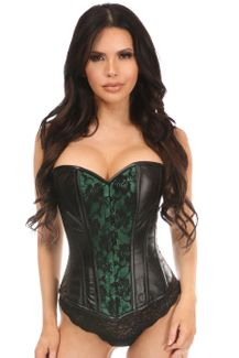 Lavish Wet Look Overbust Corset Green w/Lace Overlay - IN STOCK