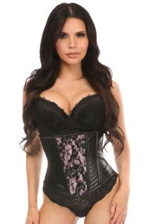 Lavish Wet Look Under Bust Corset Pink w/Lace Overlay - IN STOCK