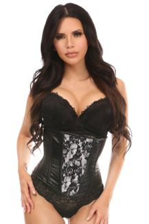 Lavish Wet Look Under Bust Corset White w/Lace Overlay - IN STOCK