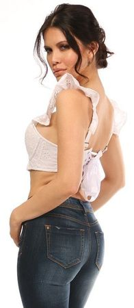 Lavish White Eyelet Underwire Bustier Top w/Removable Ruffle Sleeves