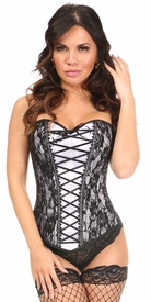 Lavish White Lace-Up Overbust Corset w/Black Lace - IN STOCK