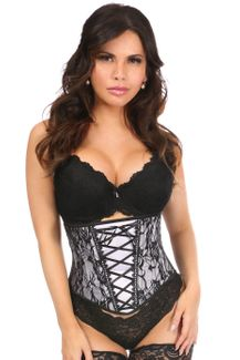 Lavish White Lace-Up Underbust Corset w/Black Lace - IN STOCK
