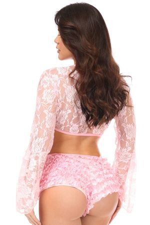 Lt Pink Sheer Lace Bell Sleeve Peasant Top - IN STOCK