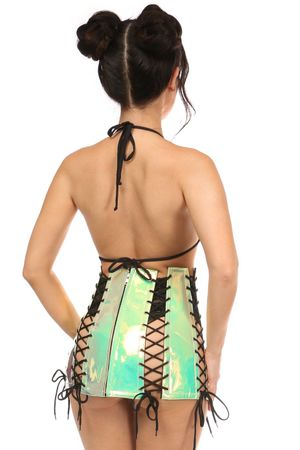 Mint Holo Lace-Up Skirt - IN STOCK