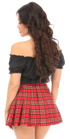 Red Plaid Schoolgirl Skirt - IN STOCK