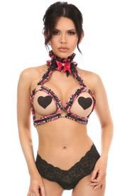 Kitten Collection Pink Floral Satin Triangle Top Body Harness - IN STOCK