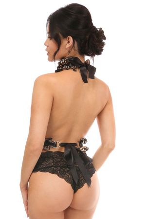 Kitten Collection Leopard Velvet Single Strap Body Harness - IN STOCK
