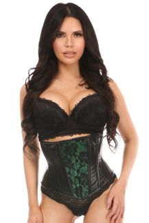 Lavish Wet Look Under Bust Corset Green w/Lace Overlay - IN STOCK