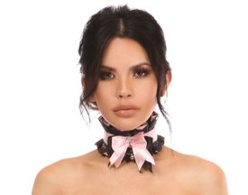Kitten Collection Lt Pink/Black Lace Choker - IN STOCK