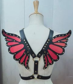 Faux Leather Magenta/Gold Butterfly Wing Harness - IN STOCK