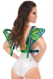 Blue/Teal Holo Large Butterfly Wing Body Harness - IN STOCK