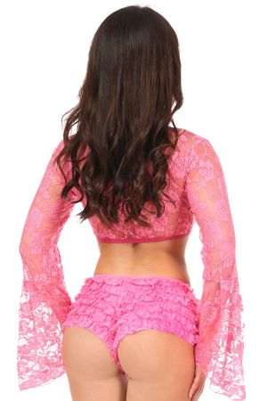 Pink Sheer Lace Bell Sleeve Peasant Top - IN STOCK
