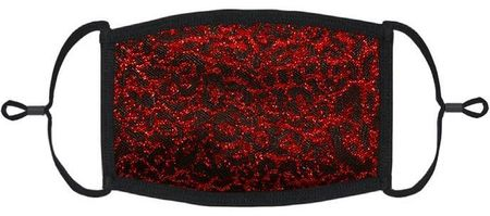 Red Glitter Cheetah Fabric Face Mask
