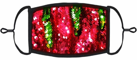 Red/Green Flip Sequin Fabric Face Mask