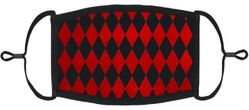 Red Harlequin Fabric Face Mask
