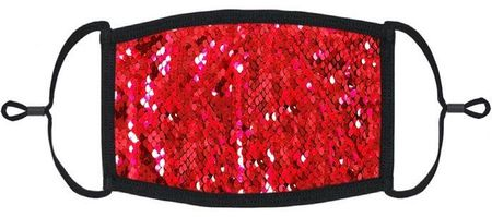 Red/Silver Flip Sequin Fabric Face Mask (PRE ORDER Ships 3/10)