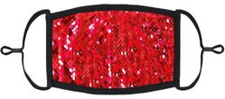Red/Silver Flip Sequin Fabric Face Mask