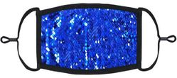 Royal Blue/Silver Flip Sequin Fabric Face Mask