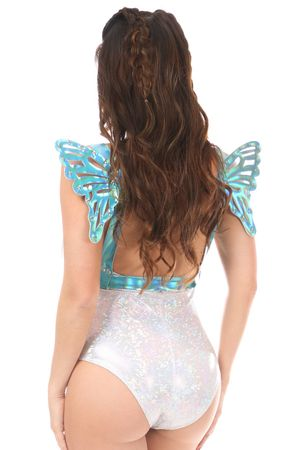 Teal Holo Body Harness w/Wings
