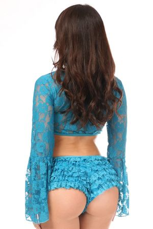 Teal Sheer Lace Bell Sleeve Peasant Top - IN STOCK