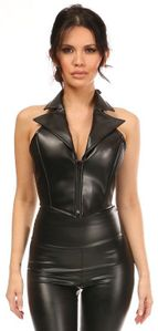 Top Drawer Black Faux Leather Steel Boned Collared Bustier Top