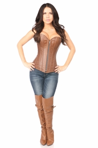 Top Drawer Distressed Brown Faux Leather Steel Boned Corset - IN STOCK
