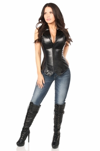 Top Drawer Faux Leather Collared Steel Boned Corset - IN STOCK