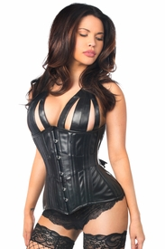 Top Drawer Faux Leather Steel Boned Underbust Corset - IN STOCK