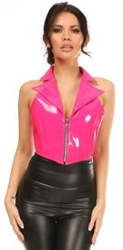 Top Drawer Hot Pink Patent Steel Boned Collared Bustier Top