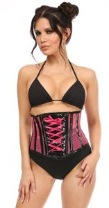 Top Drawer Neon Pink Patent & Fishnet Underbust Corset - IN STOCK
