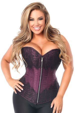 Top Drawer Plum Brocade Steel Boned Corset w/Black Eyelash Lace - IN STOCK