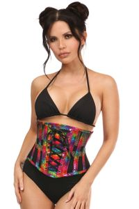 Top Drawer Rainbow Glitter PVC Steel Boned Underbust Corset w/Lace-Up Front - IN STOCK