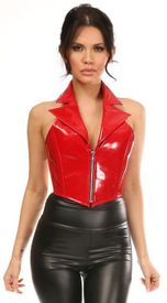 Top Drawer Red Patent Steel Boned Collared Bustier Top