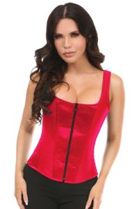 Top Drawer Red Satin Steel Boned Corset w/Straps - IN STOCK