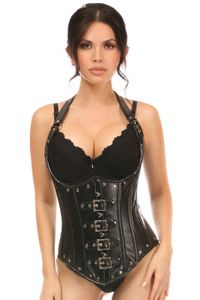 Top Drawer Steel Boned Faux Leather Underbust Corset Top - IN STOCK