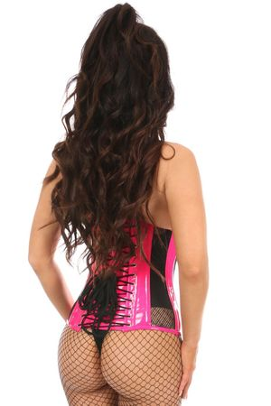 Top Drawer Steel Boned Hot Pink Patent & Fishnet Under Bust Corset - IN STOCK