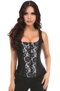 Top Drawer White Satin w/Black Lace Overlay Steel Boned Corset w/Straps - IN STOCK