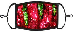 YOUTH SIZE - Red/Green Flip Sequin Face Mask