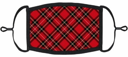 YOUTH SIZE - Red Plaid Fabric Face Mask