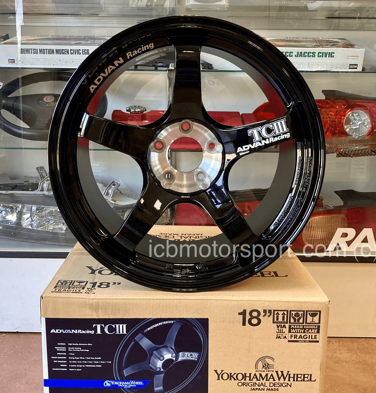 ADVAN TCIII 18X11 5X1143 +15 Offset Racing Gloss Black